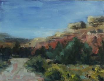 """Santa Fe, N.M 8"""" x 10""""/ Oil on Canvas Board 2017 $225"""