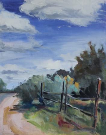 """Santa Fe, N.M 11"""" x 14""""/ Oil on Canvas Board 2017 $325"""